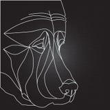 Силуэт собаки на черной предпосылке Стоковое Изображение RF