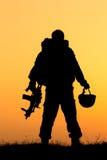 Силуэт солдата Стоковое Фото