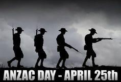 Силуэт солдат ANZAC Стоковое Фото