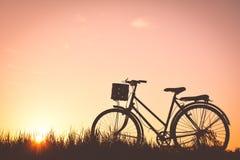 Силуэт старого велосипеда на траве Стоковое фото RF