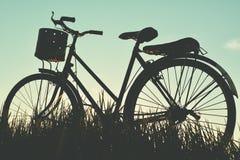 Силуэт старого велосипеда на траве Стоковое Изображение RF