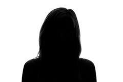 силуэт стороны женщины на белой предпосылке Стоковое фото RF