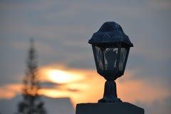 Силуэт столба лампы Стоковые Фотографии RF