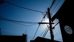 Силуэт столба электричества Стоковая Фотография