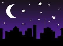 Силуэт сцены города звездной ночи Стоковое фото RF