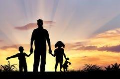 Силуэт счастливой семьи Стоковое Изображение RF