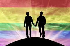 Силуэт счастливых гомосексуалистов пар Стоковое Изображение RF