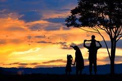 силуэт счастливых людей семьи из пяти человек, матери, отца, младенца, ребенка и младенца (prenancy женщин) Стоковая Фотография