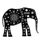 Силуэт слона с картинами в старом традиционном s Стоковые Изображения RF