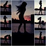 Силуэт танцевать женщины сиротливый на обваловке реки перед красивым заходом солнца стоковая фотография