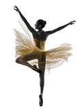 Силуэт танцев артиста балета балерины женщины Стоковые Фото