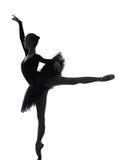 Силуэт танцев артиста балета балерины молодой женщины Стоковая Фотография