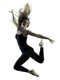 Силуэт танцев танцора балерины изолированный женщиной Стоковые Изображения RF