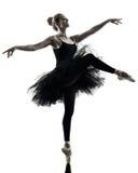 Силуэт танцев танцора балерины изолированный женщиной Стоковая Фотография RF