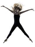 Силуэт танцев танцора балерины изолированный женщиной Стоковое Изображение RF