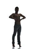 Силуэт танцора молодого человека  Стоковая Фотография RF