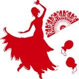Силуэт танцора фламенко Стоковая Фотография RF