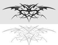 Силуэт татуировки дракона Стоковые Фото