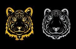 Силуэт тигра головной Стоковая Фотография