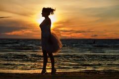 Силуэт тонкой девушки брюнет в сочной короткой юбке, stan Стоковое Фото