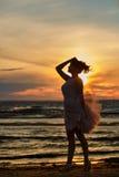Силуэт тонкой девушки брюнет в сочной короткой юбке, stan Стоковые Изображения