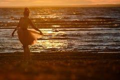 Силуэт тонкой девушки брюнет в сочной короткой юбке, stan Стоковое Изображение RF