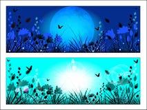 Силуэт травы и цветков луга Стоковое Фото