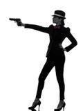 Силуэт убийцы гангстера оружия женщины Стоковая Фотография