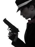 Силуэт убийцы гангстера оружия женщины Стоковые Фотографии RF