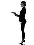 Силуэт убийцы гангстера оружия женщины Стоковое Изображение RF