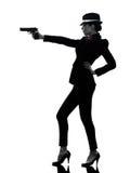 Силуэт убийцы гангстера оружия женщины Стоковое Изображение