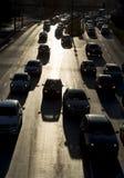 Силуэт улицы автомобилей затора движения Стоковые Фото