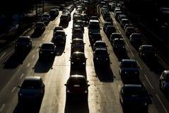 Силуэт улицы автомобилей затора движения Стоковая Фотография
