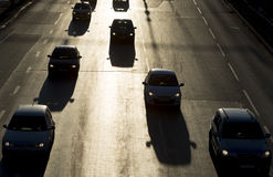 Силуэт улицы автомобилей затора движения Стоковые Изображения