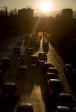 Силуэт улицы автомобилей затора движения Стоковое Изображение RF