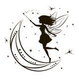 Силуэт феи с луной и звездами Стоковое Изображение RF
