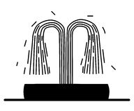 Силуэт фонтана Стоковая Фотография RF