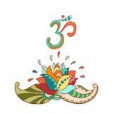 Силуэт цветка лотоса и символ om lilly вода иллюстрация вектора