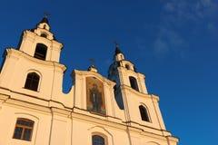 Силуэт церков на заходе солнца. Стоковые Изображения RF