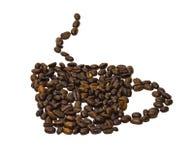 Силуэт чашки кофе на белой предпосылке сделанной coff иллюстрация штока