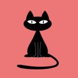 силуэт черного кота Стоковая Фотография
