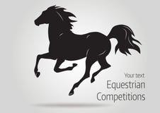 Силуэт черной идущей лошади - vector иллюстрация лошади Стоковое Изображение RF