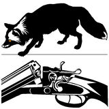Силуэт черноты серебряной лисы винтовки звероловства (fulva лисицы) Стоковые Фото