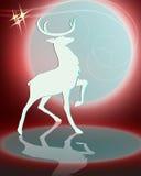Силуэт чертежа оленя с яркой луной Стоковая Фотография RF