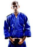 Силуэт человека бойца Judoka Стоковая Фотография