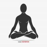 Силуэт человека в представлении йоги иллюстрация штока