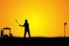 Силуэт человека гольфа Стоковые Фотографии RF
