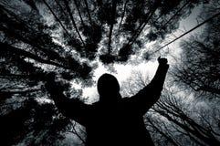 Силуэт человека против деревьев в черно-белом стоковое изображение rf