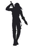 Силуэт человека ратника Стоковые Фото