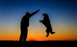 Силуэт человека & собаки Стоковая Фотография